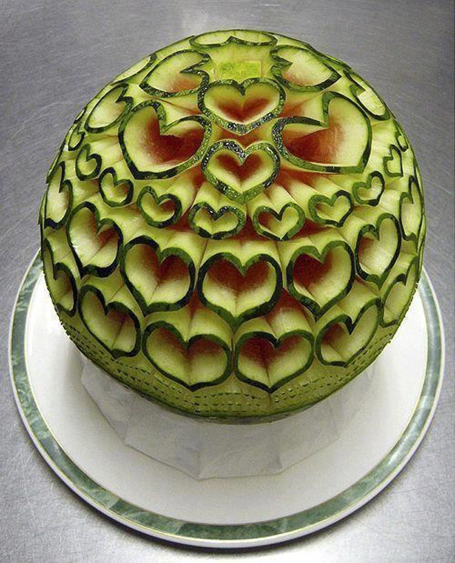 fruit art watermelon heart