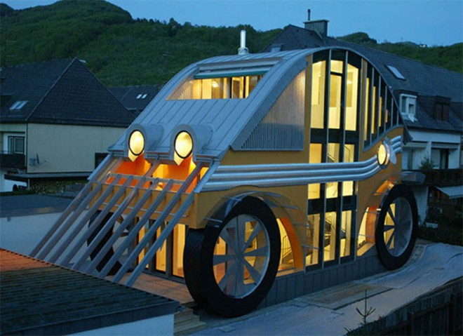 weird houses car