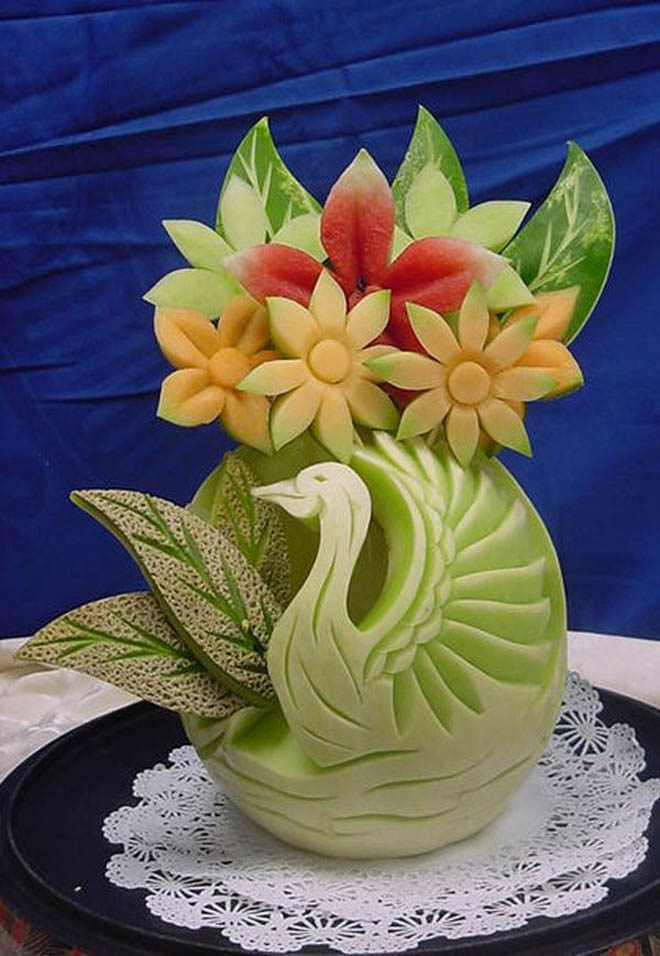Beautiful fruit carving works and art ideas for