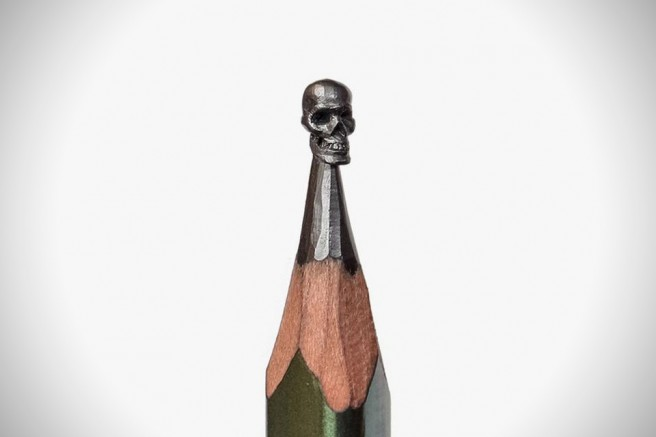 creative pencil skull art idea