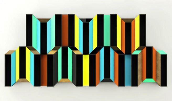 optical illusion bookshelves