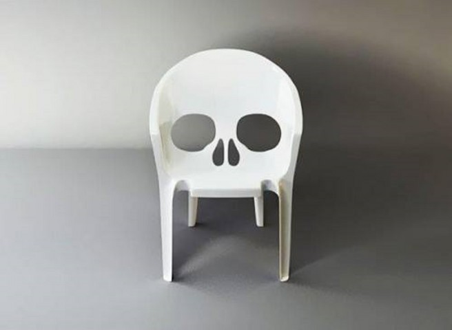creative chair skull art idea