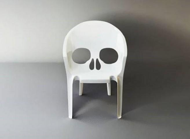 creative chair skull art idea