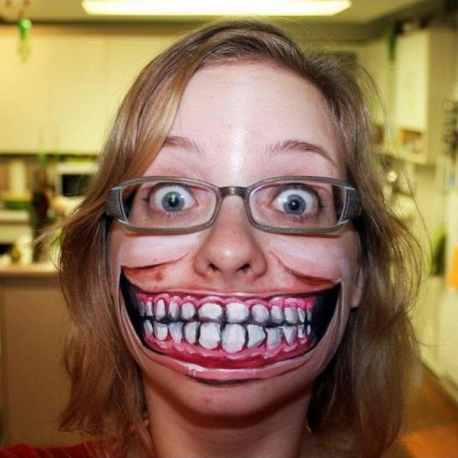 funny big mouth face painting