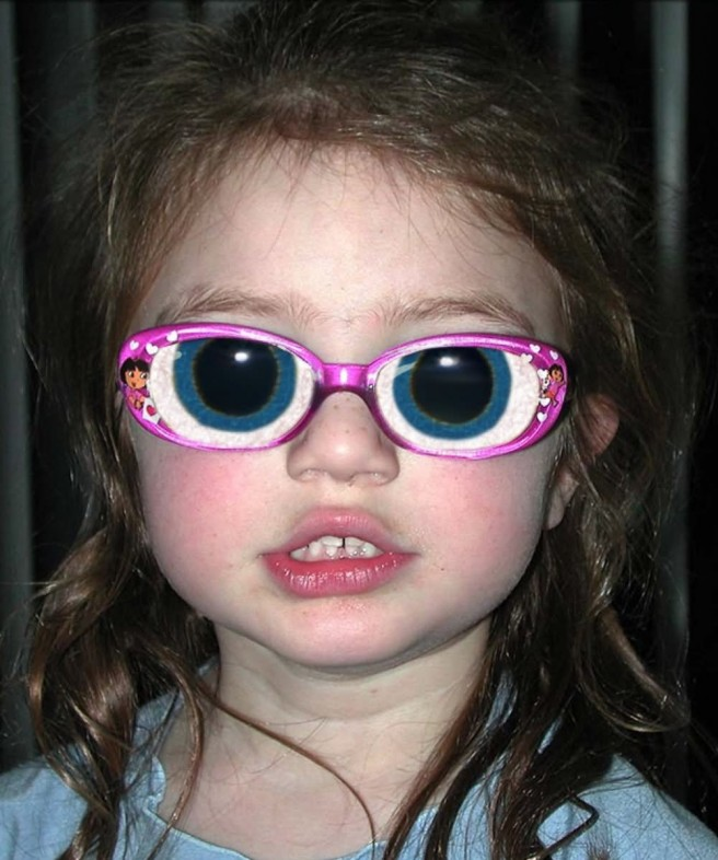 girl wearing funny scary glassess