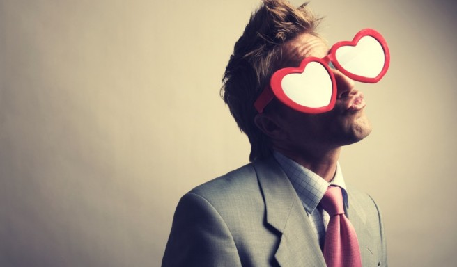 man hearts glasses love funny picture
