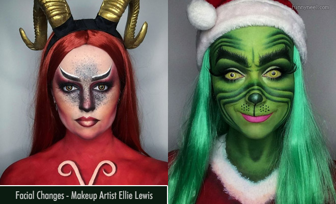 15 funny facial changes using face paintings by makeup artist ellie lewis