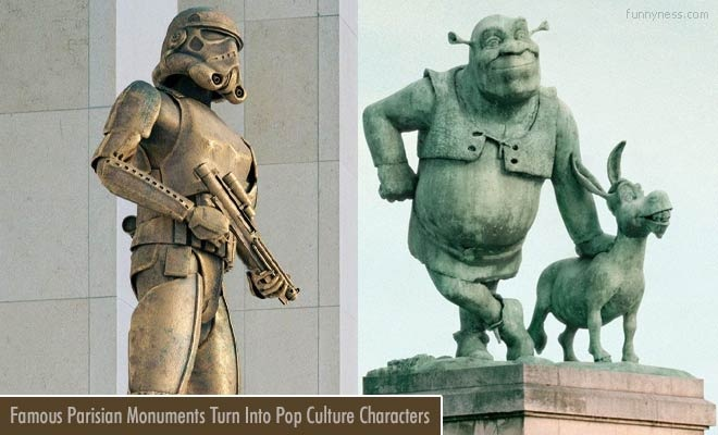 funny famous parisian monuments turn into pop culture characters - photos by benoit lapray