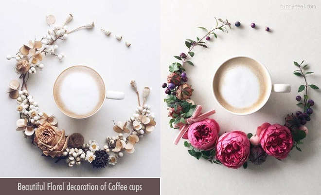 Floral Decoration Coffee Cups