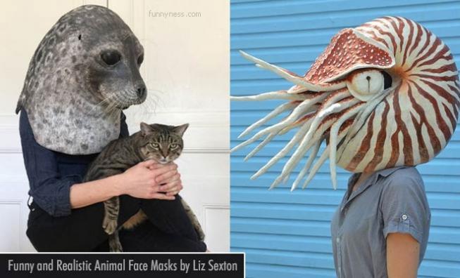 Funny Animal Face Mask by Liz Sexton