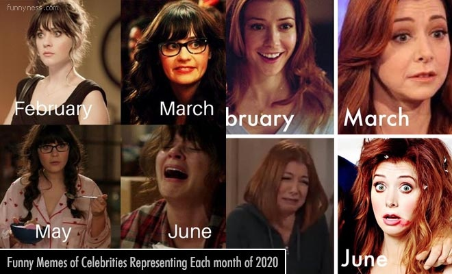funny memes of celebrities representing each month of 2020