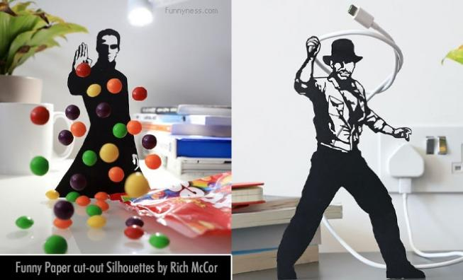 funny paper cut-out silhouettes with everyday objects by rich mccor