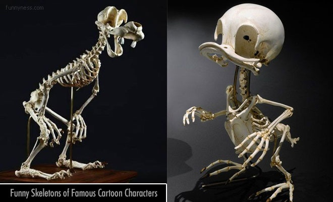animatus - funny skeleton sculptures of famous cartoon characters by hyungkoo lee