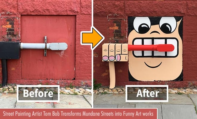 street painting artist tom bob transforms mundane streets into funny artworks
