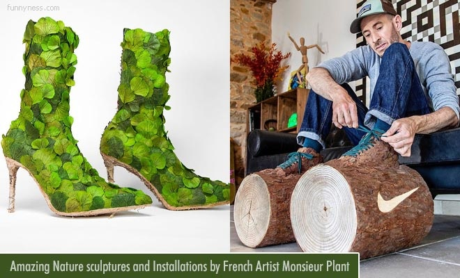 funny nature sculptures and art installations by french artist monsieur plant
