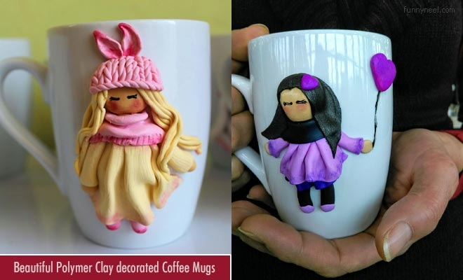 Polymer Clay Decorated Coffee Mugs