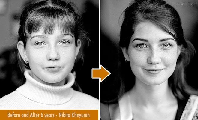 Kids Before and After 6 Years Photographs