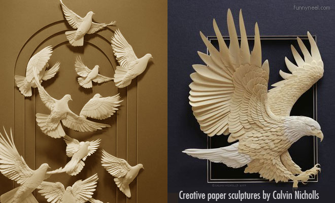 Creative paper sculptures by Calvin Nicholls