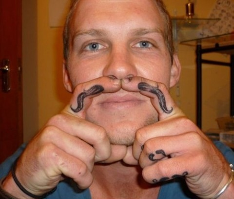 mustache for every finger tattoo fail
