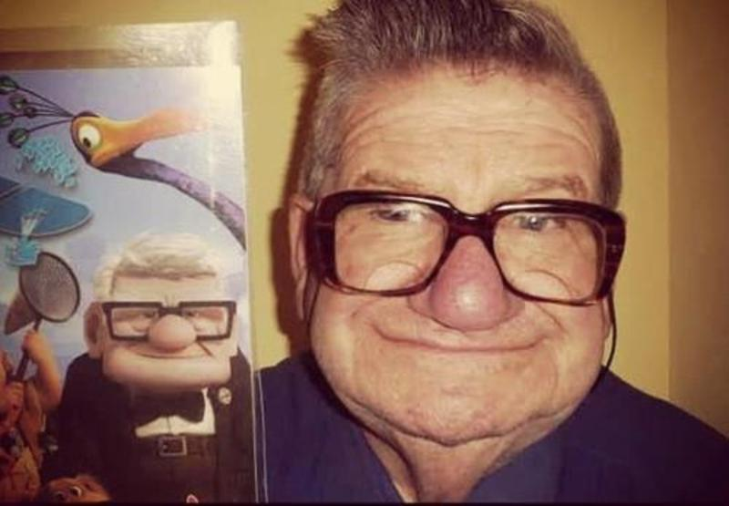 man looks like carl from up similar funny photography