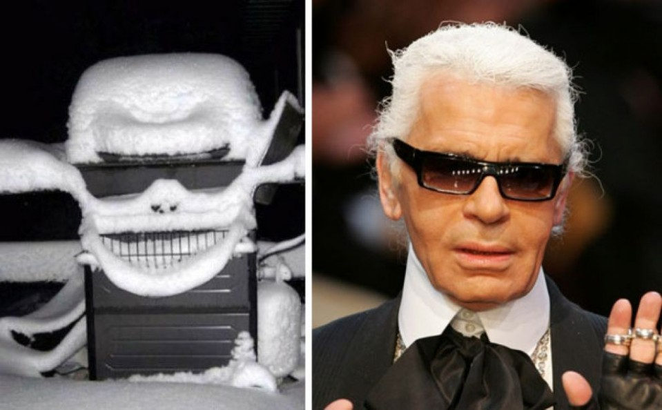 11 snowy grill looks like karl lagerfeld funny similar things photography