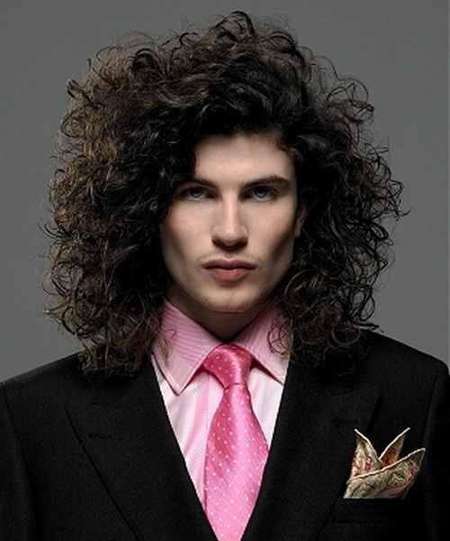 curly men long hairstyle