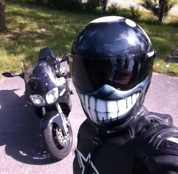 cool selfie smily motorcycle helmets