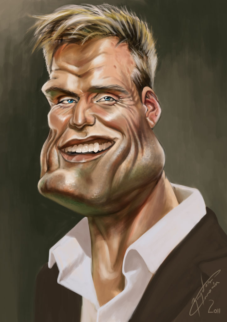 dolph lundgren funny caricature by bogdancovaciu