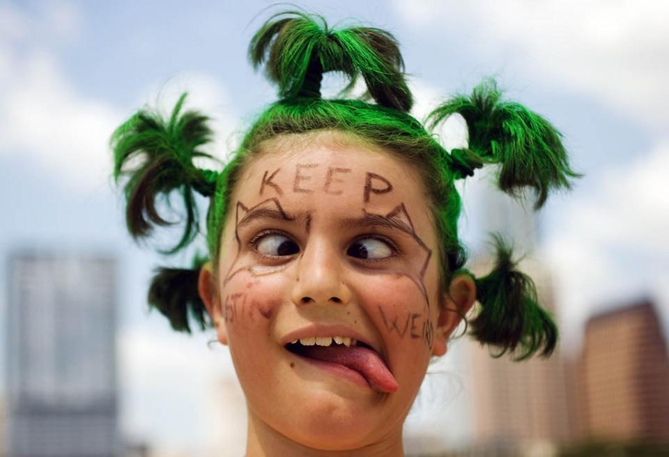 green funny girl
