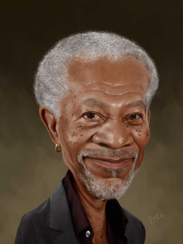 morgan freeman funny caricature by prosenjit mondal