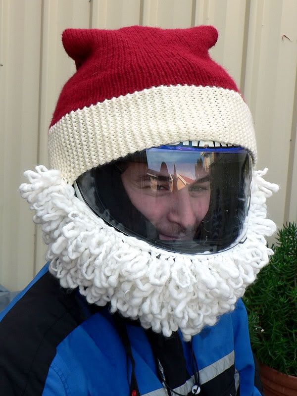 cool knitted santa motorcycle helmets