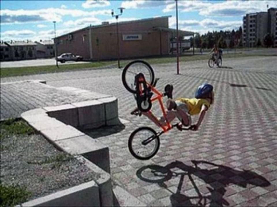 people falling off bikes