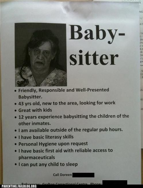 funny epic fail baby sitter ad