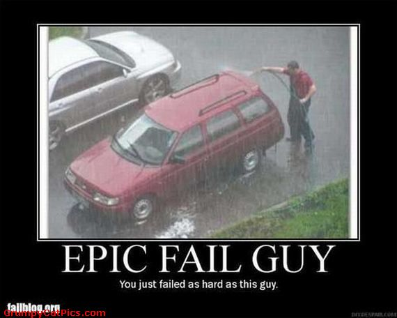funny epic fail guy washing a car