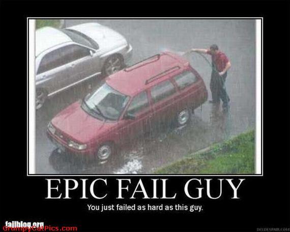 funny epic fail guy washing a car