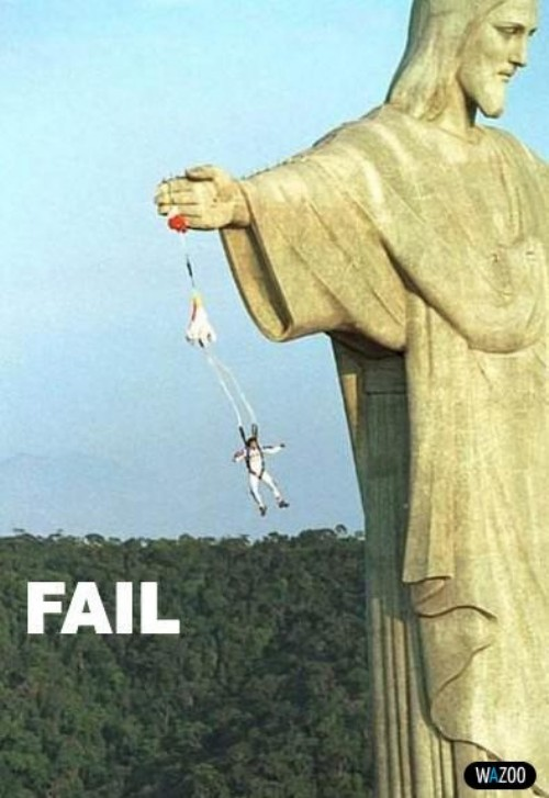 funny fail parachute man picture