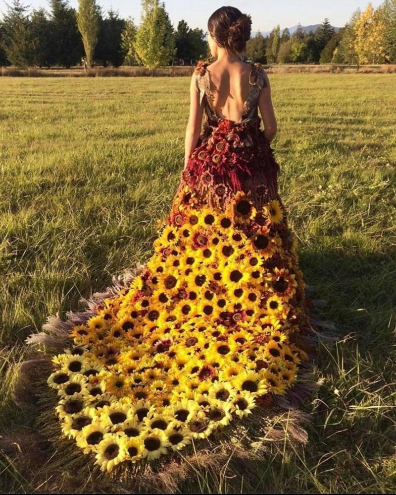 funny wedding dress sunflower woman