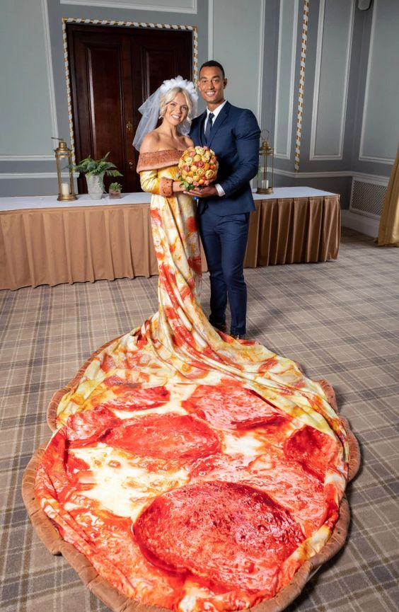 most funniest wedding dress pizza