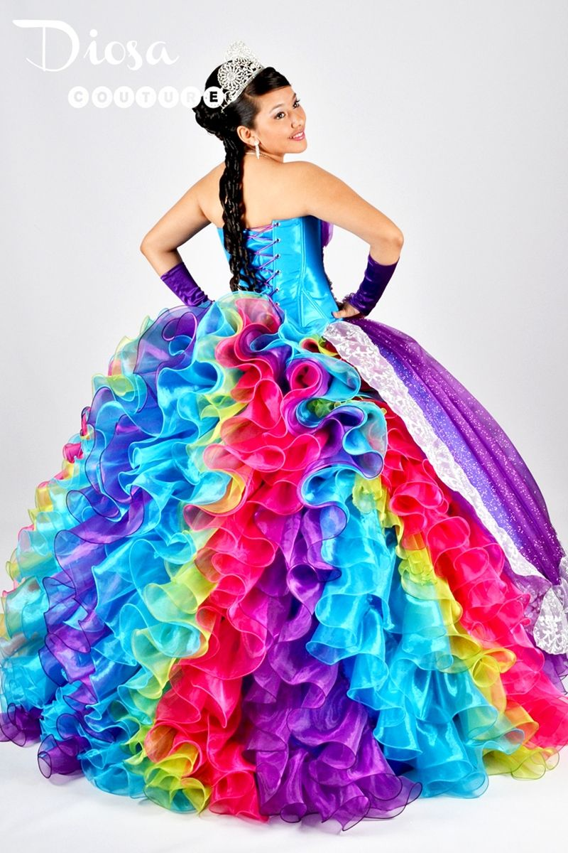 crazy wedding dress rainbow color
