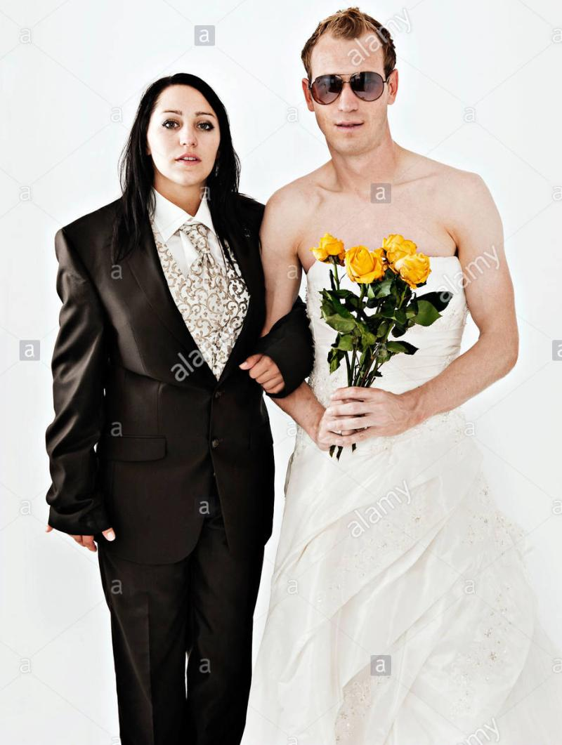 funniest wedding dress bride and groom
