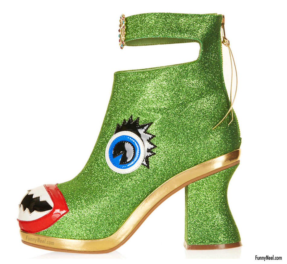 funny heel shoe photo fish mouthed boots