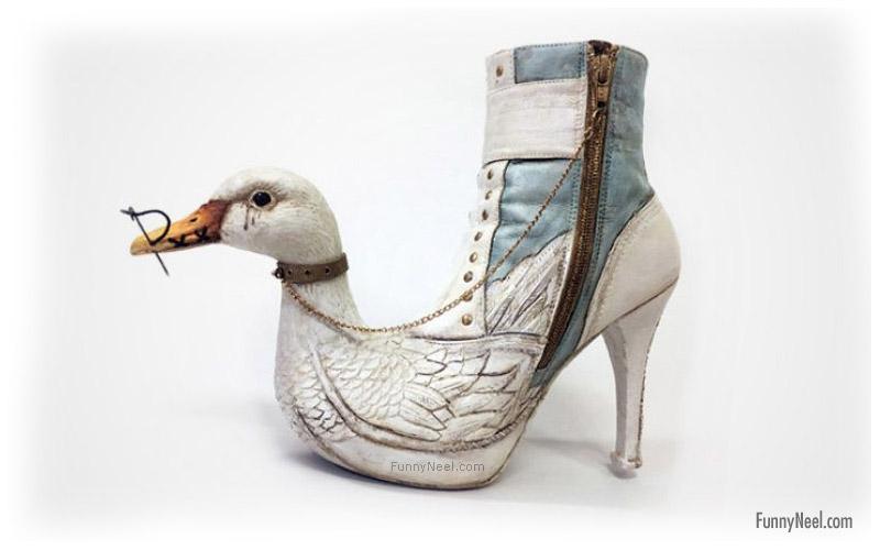 funny heel shoe swan head