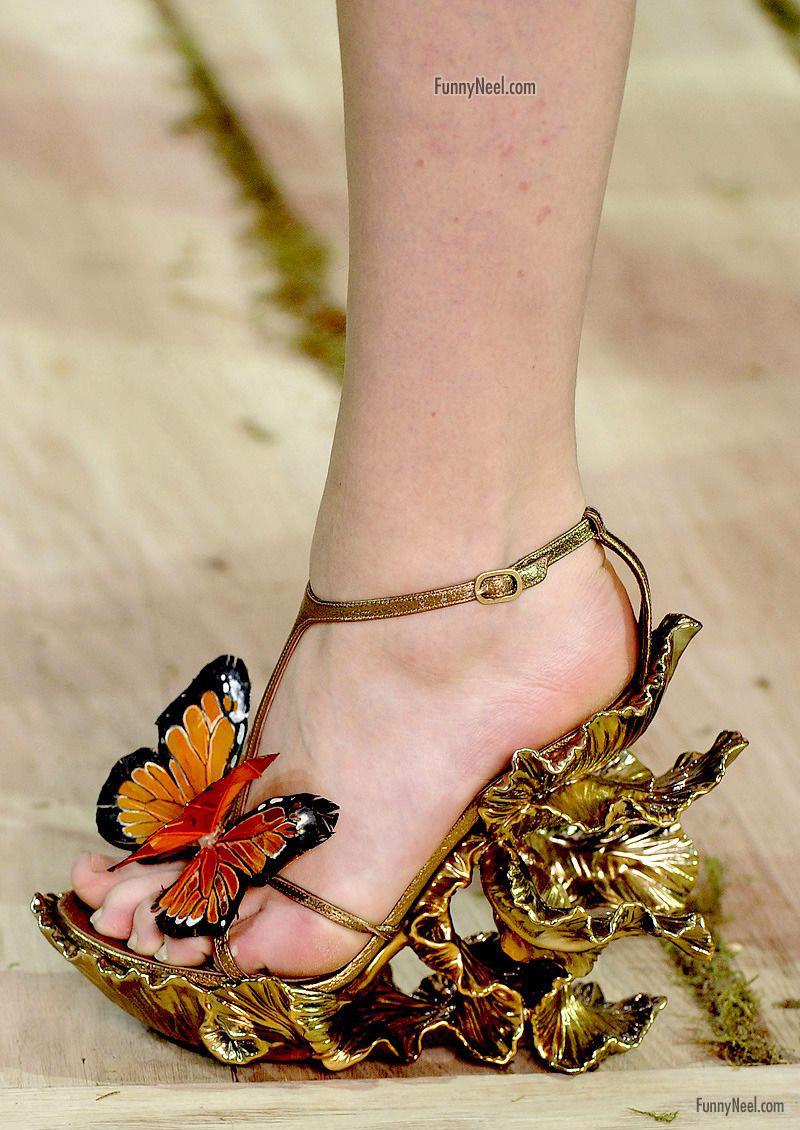 wierd heel shoe butterfly heels image