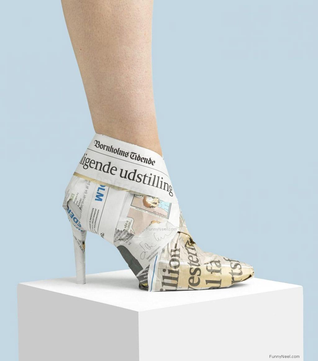 wierd heels shoes newspaper pointed heels