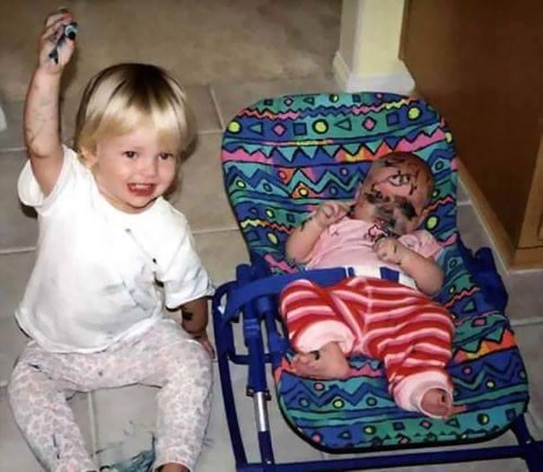 funny babies makeup