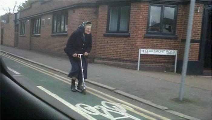 funny old woman skating