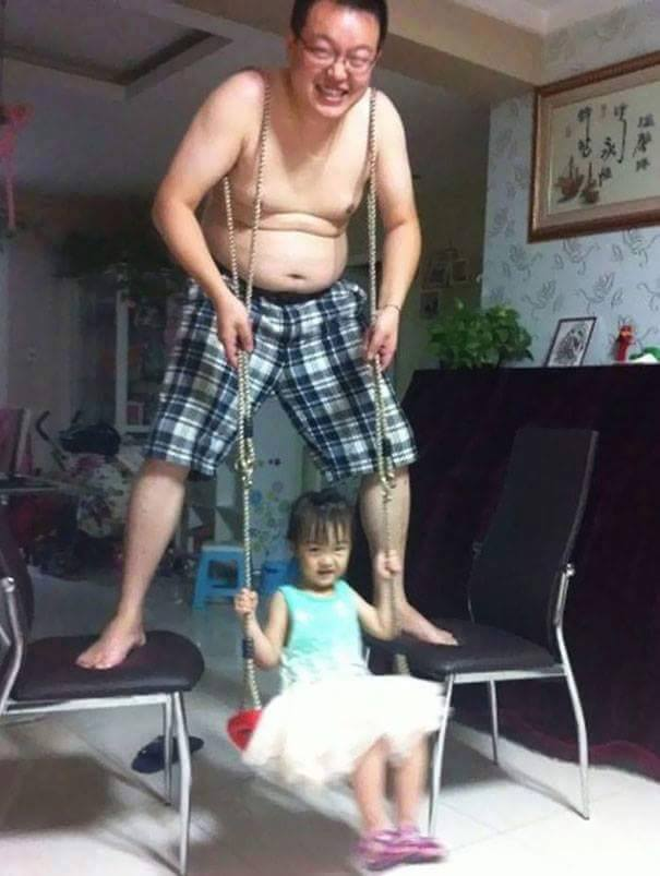 funny people swing with child