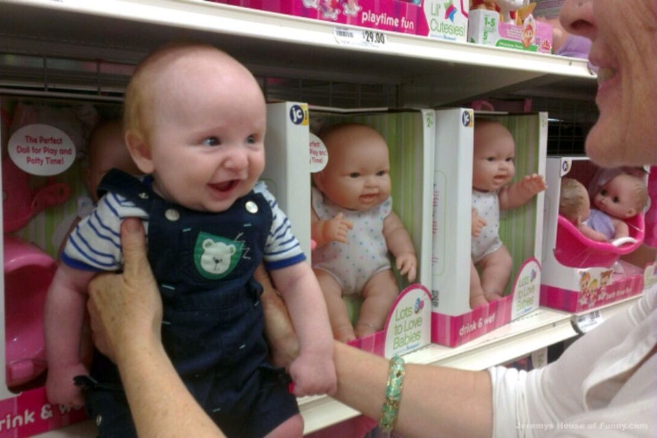 funny baby comparsion with doll
