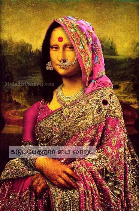funny monolisa painting indian woman