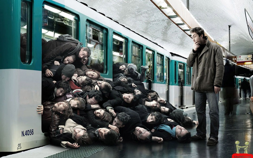 creative ads crowded train